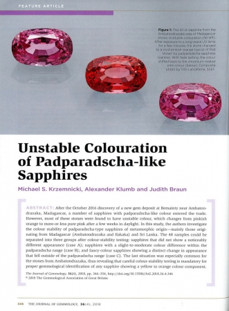 Unstable Colouration of Padparadscha-like Sapphires