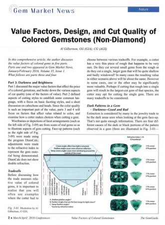 Value Factors, Design, and Cut Quality of Colored Gemstones (Non-Diamond), Part 3&4