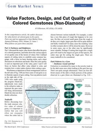 Value Factors, Design, and Cut Quality of Colored Gemstones (Non-Diamond), Part 3&4